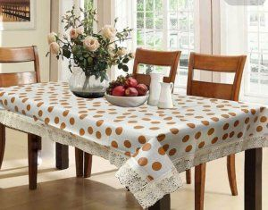 Kuber Industries™ Waterproof Dining Table Cover 6 Seater 60*90 Inches (Cream Color Round Design)