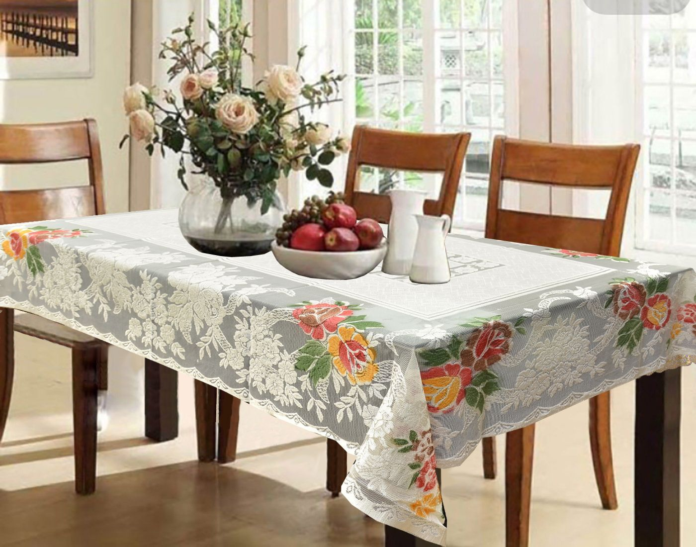 Kuber Industries™ Cream Shining Printed Cloth Net Dining Table Cover 6 Seater 60*90 Inches