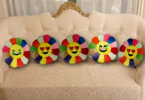 Kuber Industries Feather Emoji Smiley Cushion 40x40 CM (Multi) Set of 5 Pcs-CTKTC1508