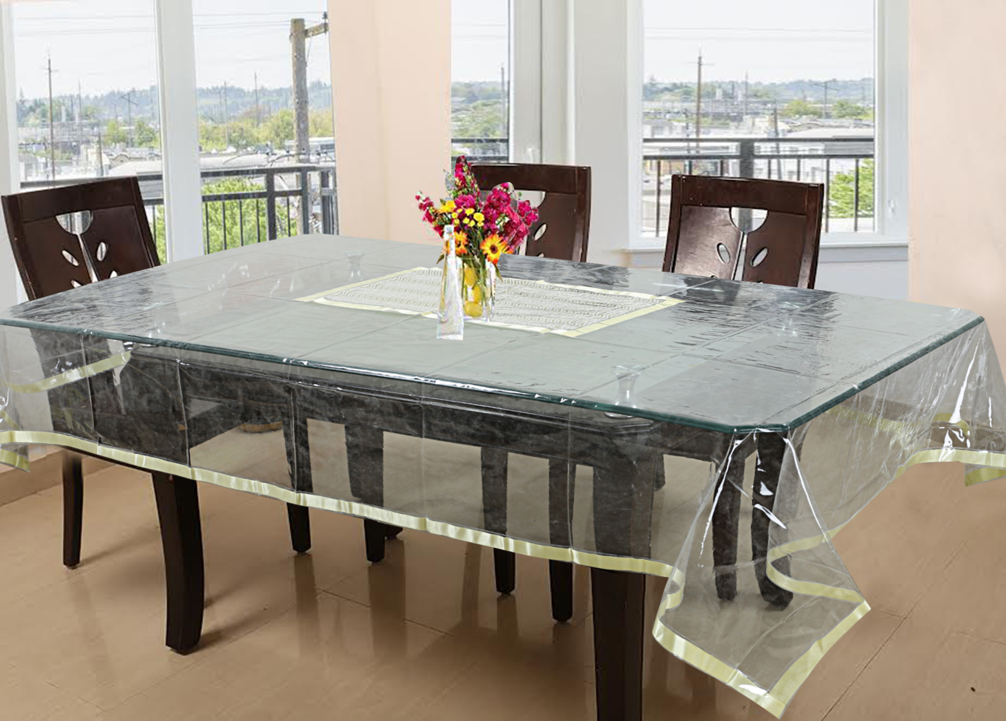 Kuber Industries PVC 6 Seater Dining Table Cover (Gold)