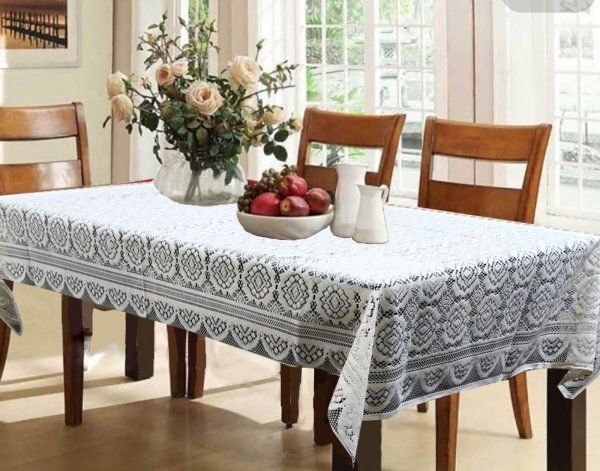 """Kuber Industries™ Dining Table Cover Cream Cloth Net For 6 Seater  60*90 Inches (Self Design) """