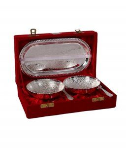 Kuber Industries Silver Plated 2 Bowls, 2 Spoons, 1 Tray Set with a Wooden Box (Silver)-CTKTC4430