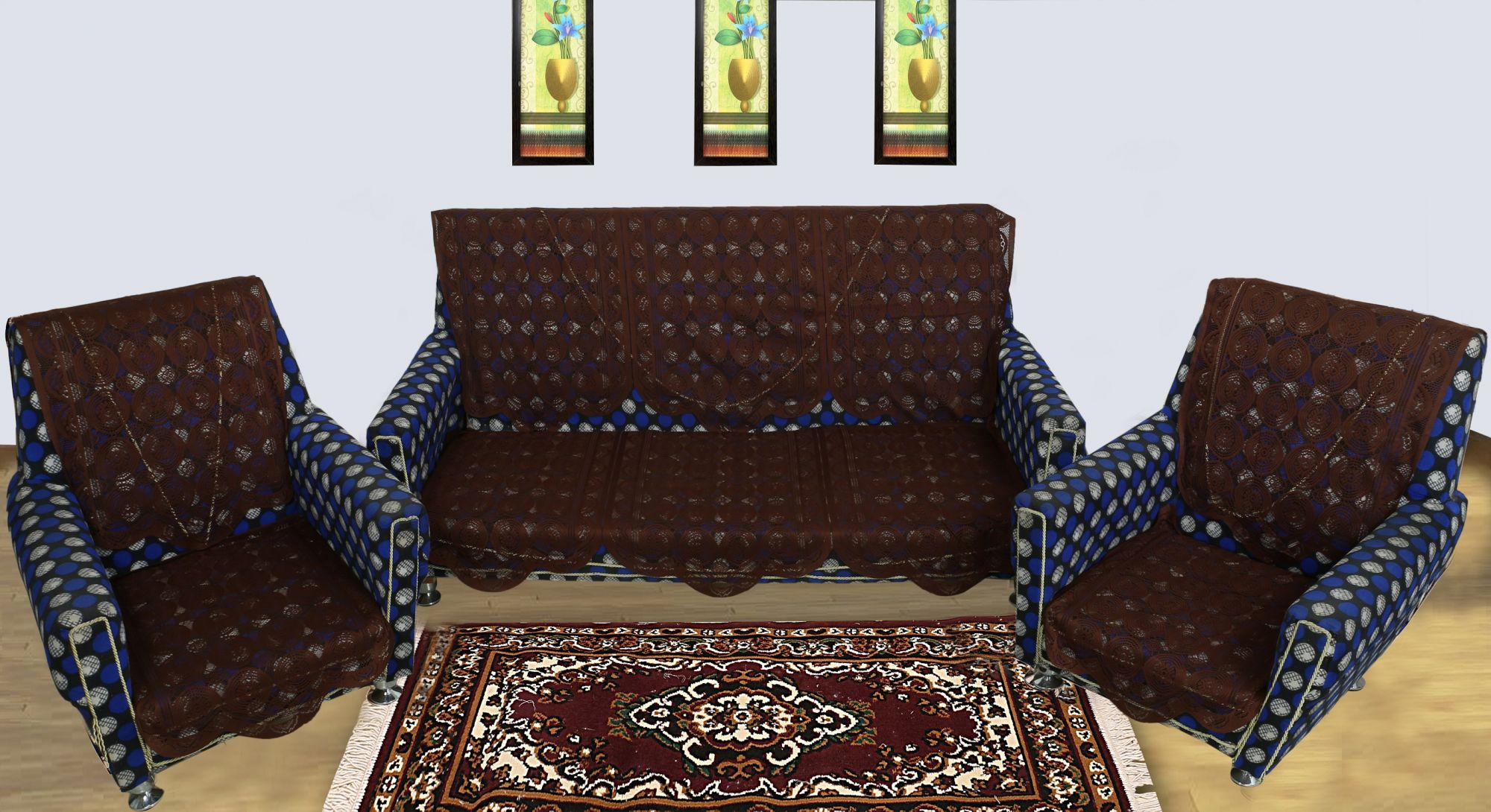 Kuber Industries 6 Piece Cotton 5 Seater Sofa Cover Set (Brown)
