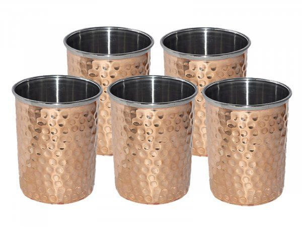 Kuber Industries Hammered Copper Drinking Glass/Tumbler in Inner Stainless Steel Material- Set of 5 Pcs 260 ML Each Ayurvedic Health benefit Drinkware  (COPS25)