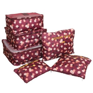 Kuber Industries 6 Pieces Travelling Mesh Laundry Pouch/Cloth Organizer Storage Bag (Maroon)-CTKTC1461