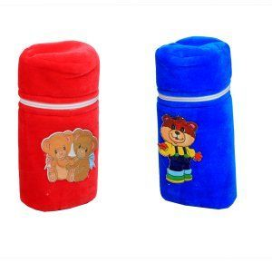 "Kuber Industriesâ""¢ Baby Soft Feeding Bottle Cover Velvet with Zip -Set of 2 - KUB364"