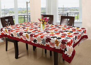 Kuber Industries Leaf Design Cotton 6 Seater Dining Table Cover 60x90 Inches (Maroon)-CTKTC1218