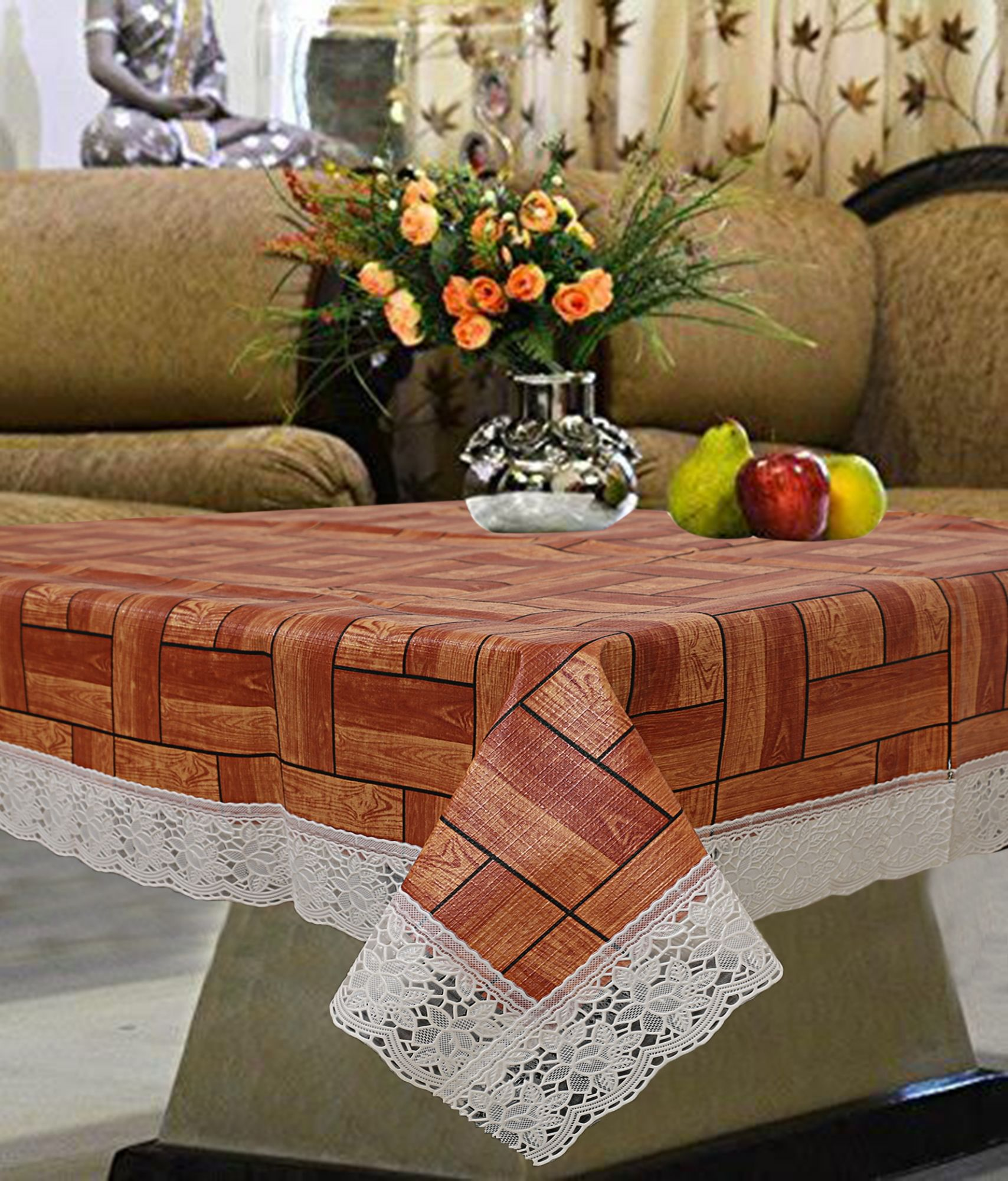 Picture of: Kuber Industries Pvc 4 Seater Center Table Cover Wooden