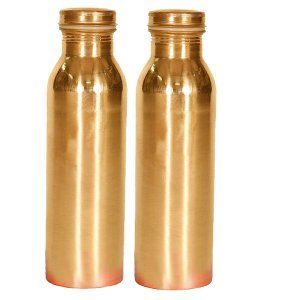 Kuber Industries 100% Pure Handmade Copper Bottle-750 ML, Leak Proof & Joint Free for Ayurvedic Health Benefits- Set of 2 Pcs (Bottle13)