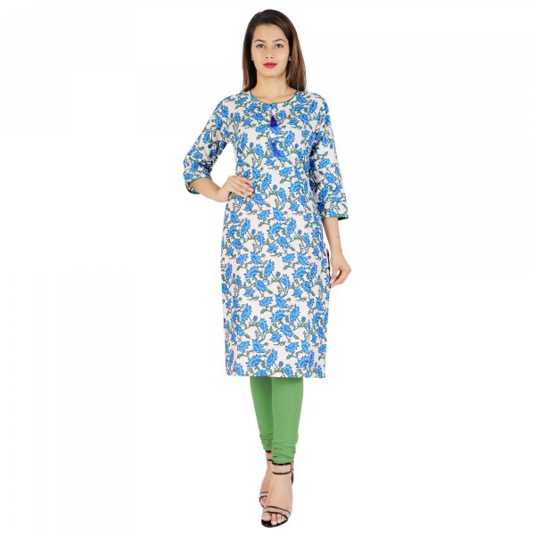 Kuber Industries Women Floral Print Straight Kurta  (Light Blue)