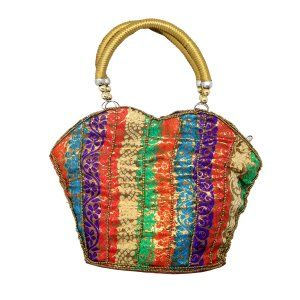 Kuber Industries™ Rajasthani Ethnic Mirror Work Handheld Bag,Small (Multicolor) - BG18