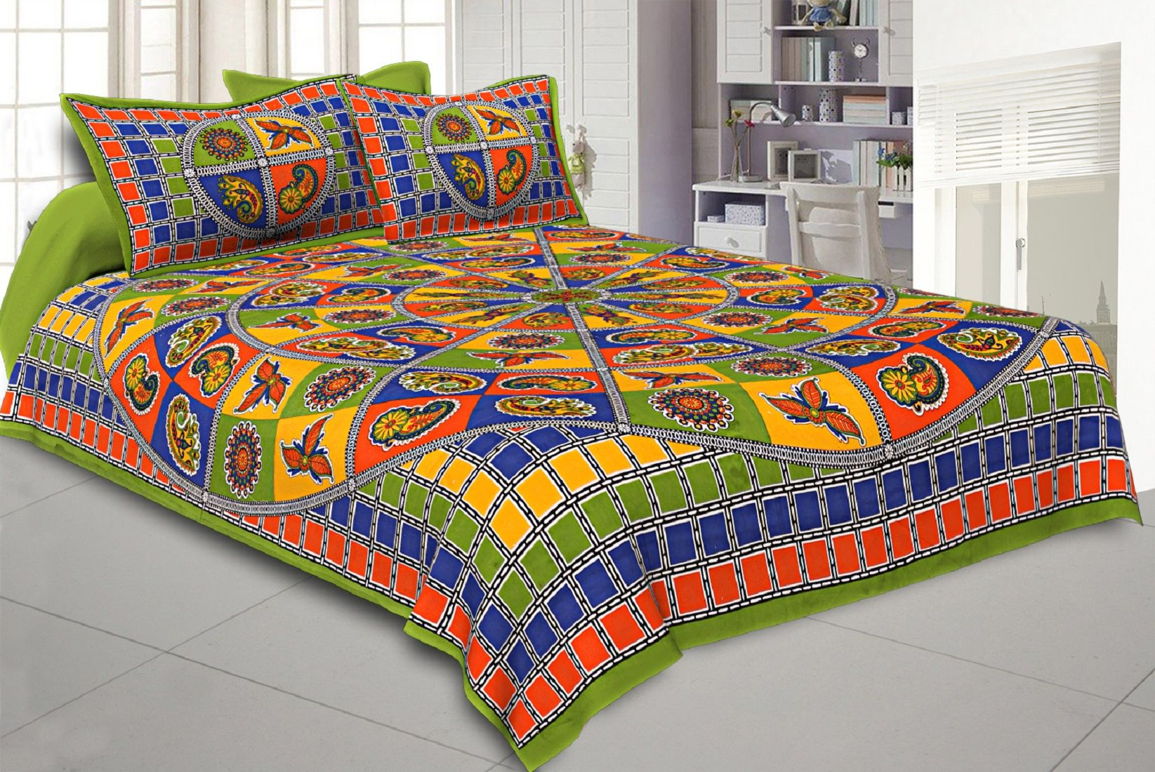 Kuber Industries Cotton 144 TC Double Bedsheet with 2 Pillow Covers (Green)Leaf Design