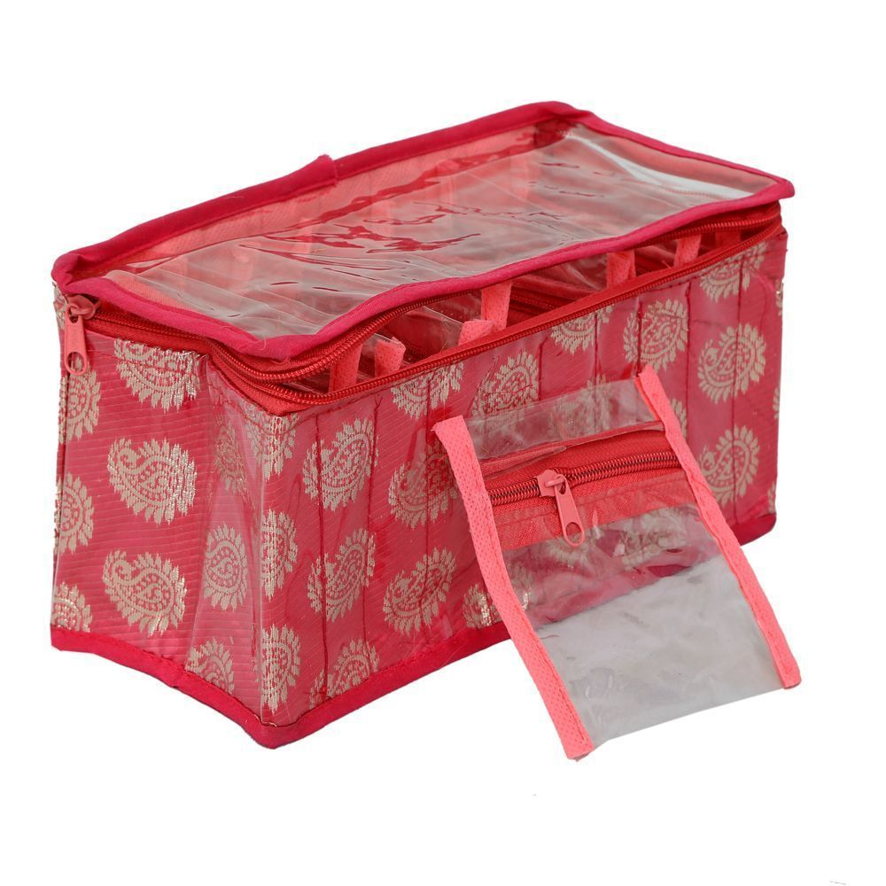 """Kuber Industries Brocade Jewellery Kit With 10 Transparent Pouches (Pink)-KI3213 """