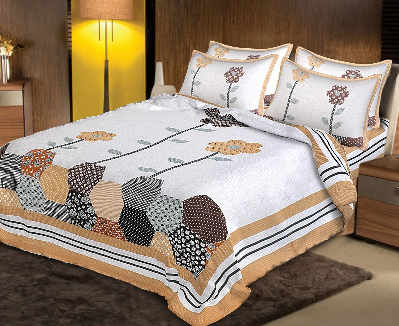 Kuber Industries Cotton 210 TC Double Bedsheet with 2 Pillow Covers (Multi)