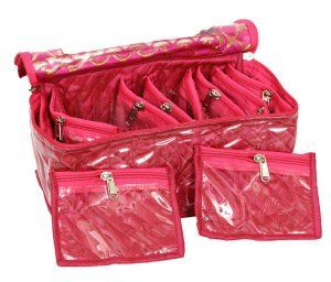 Kuber Industries Jewellery Box With 10 Transparent Pouches (Pink)