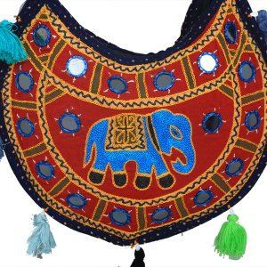 Kuber Industries™ Ethnic Embroidry Mirror Work Sling Bag in 'D' Design (Blue) - BG7