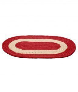 Kuber Industries Cotton_Blend Border Oval Door mat