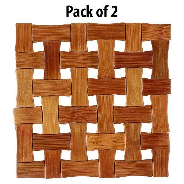 Kuber Industries Bamboo Wooden Coaster, Pan Pot Holder Heat Insulation Pad, Square 13 x 13 cm, 2 Piece Set -KI3432