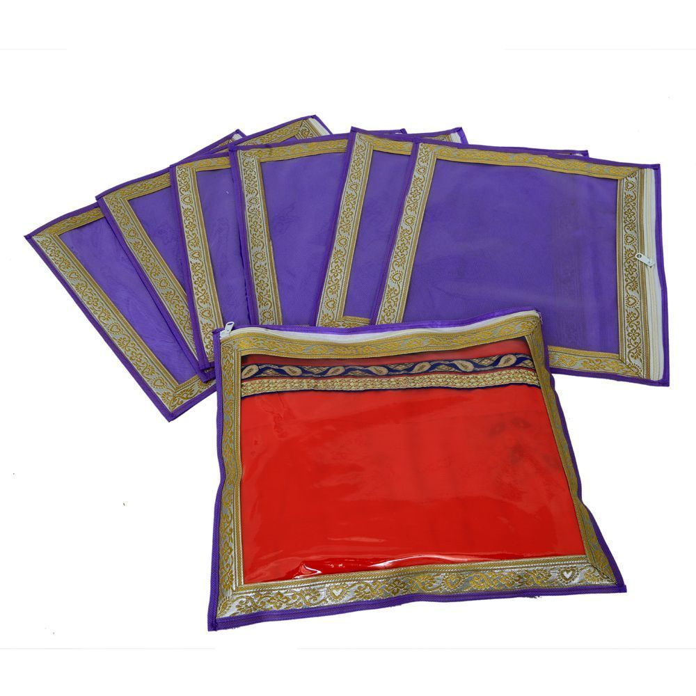 """Kuber Industries Single Packing Saree Cover In Non Woven Material  With Zari Border Set Of 6 Pcs (Wedding Collection Gift)  -KI3248 """