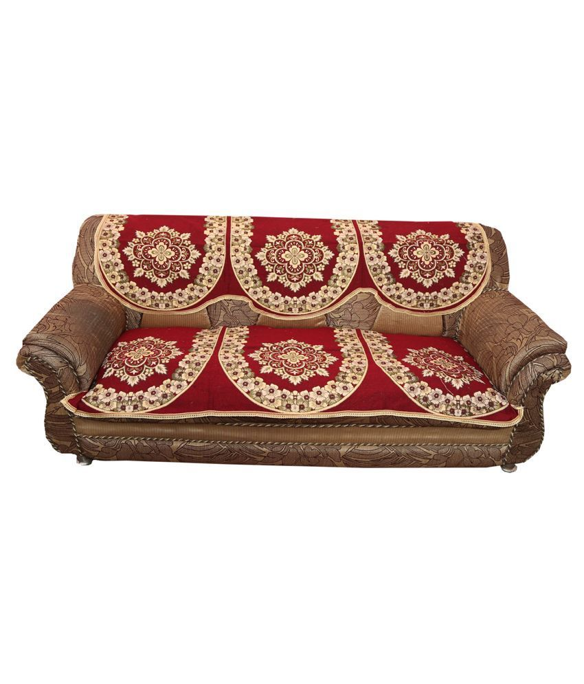 """Kuber Industries Maroon 5 Seater Cotton Sofa Cover Set -10 Pieces (Exclusive Design) """