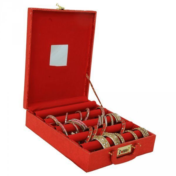 """Kuber Industries Five Roll Bangle Box With Lock in Hard Board With Inside Mirror (Red)-KI3233 """