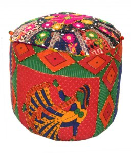 Kuber Industries Rajasthani Print Cloth Big Puffy Stool Handmade in 100% Cotton (Colour and Print might vary according to availibility)