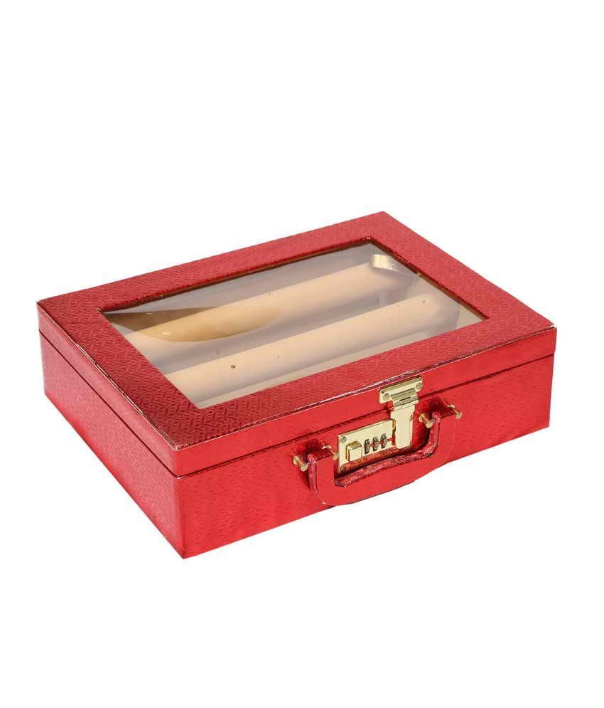 Kuber Industries Bangle Box Three Roll With Lock in Hard Board
