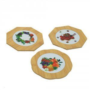 Kuber Industries Bamboo Heat Pad in Polygon Shape Fruit Design, 14.5*14.5 cm, 3 Pieces Set - KI3430