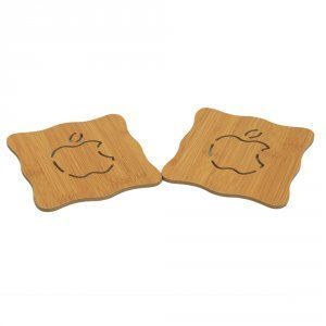 Kuber Industries Bamboo Heat Pad in Square Shape Fruit Design, 14.5*14.5 cm, 2 Pieces Set - KI3433