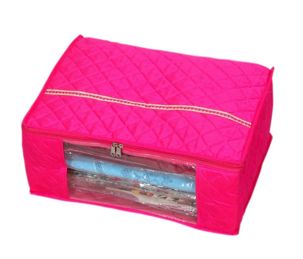 Kuber Industries 3 Layered Pink Quilted Satin Saree Cover (Wedding Collection Gift)