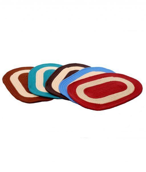 Kuber Industries Cotton_Blend Border Oval Door mat  Set of 5 Pcs