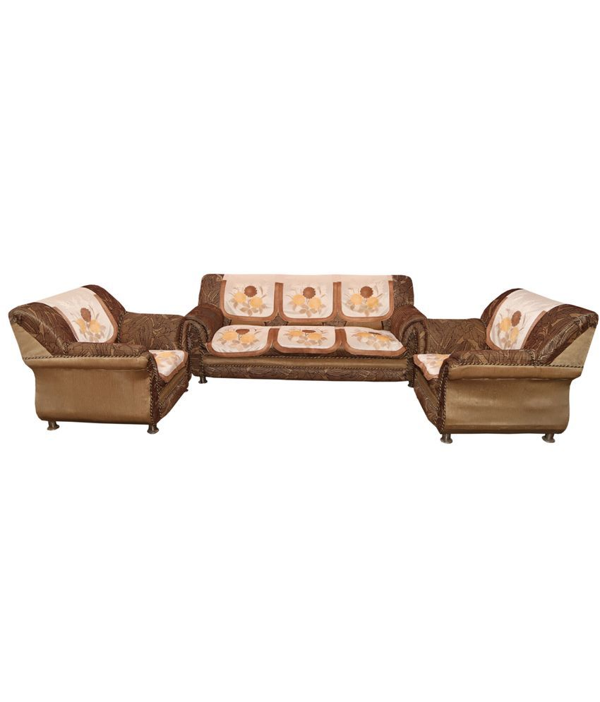 Kuber Industries™ Cream 5 Seater Imported Net Sofa Cover| Slip Cover Set -10 Pieces  Brown Border (Sofa028)