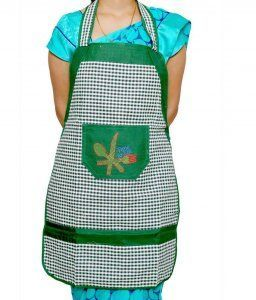 Kuber Industries Multicolor Cotton Checks Apron (Waterproof)