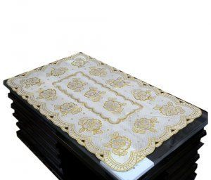 Kuber Industries Table Runner In Virgin Viny Soft Fabric Golden (24*40 Inches)(print might vary according to availability)