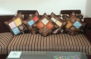 """Kuber Industries Premium Cushion Cover Set of 5 pcs ( 16*16 inches) Brown """