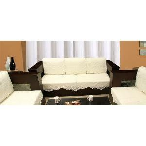 Kuber Industries Cream 5 Seater Net Sofa Cover Set -10 Pieces (Exclusive Design)