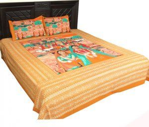 """Kuber Industries Rajasthani Traditional Bedsheets with 2 Pillow Covers, King Size double bed bedsheet,100% cotton """