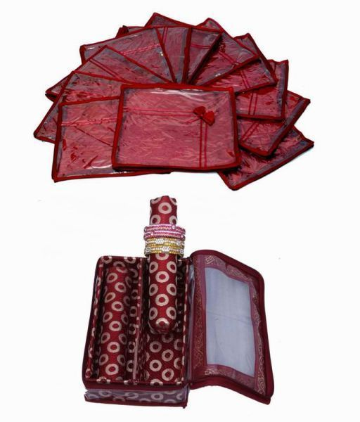 Wedding Special Combo, 12 pcs of Satin Bow Saree Cover, 2 Rod Bangle Box in Brocade