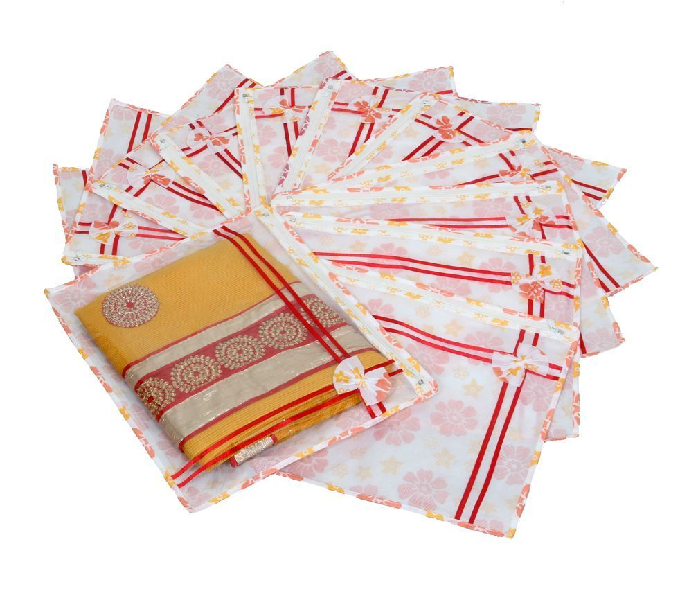 Kuber Industries Printed Non Wooven Saree Cover Set Of 12 Pcs (With Zip Lock)