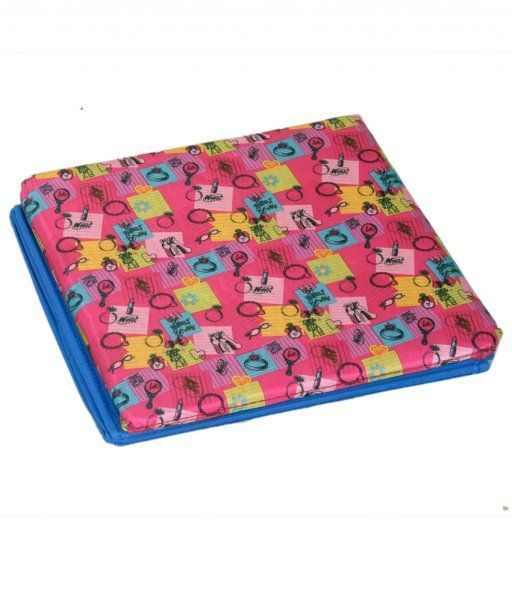 """Kuber Industries Dots Multi Purpose Foldable Cloth Big Storage Stool Seat Box (Colour and Print might vary according to availibility) """