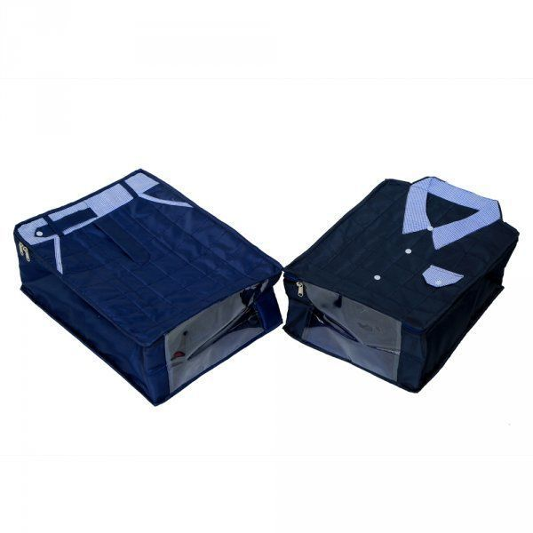"""Kuber Industries Large Size Shirt Cover & Trouser Cover Set of 2 Pcs(Soft Cotton Parachute Material) Blue Color With Textured Dotted Border -KI3172 """