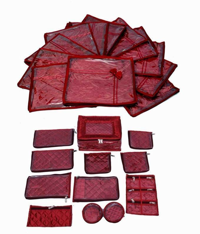 Wedding Special Combo, 12 pcs of Satin Bow Saree Cover, Locker Jewellery Kit With 12 pouches