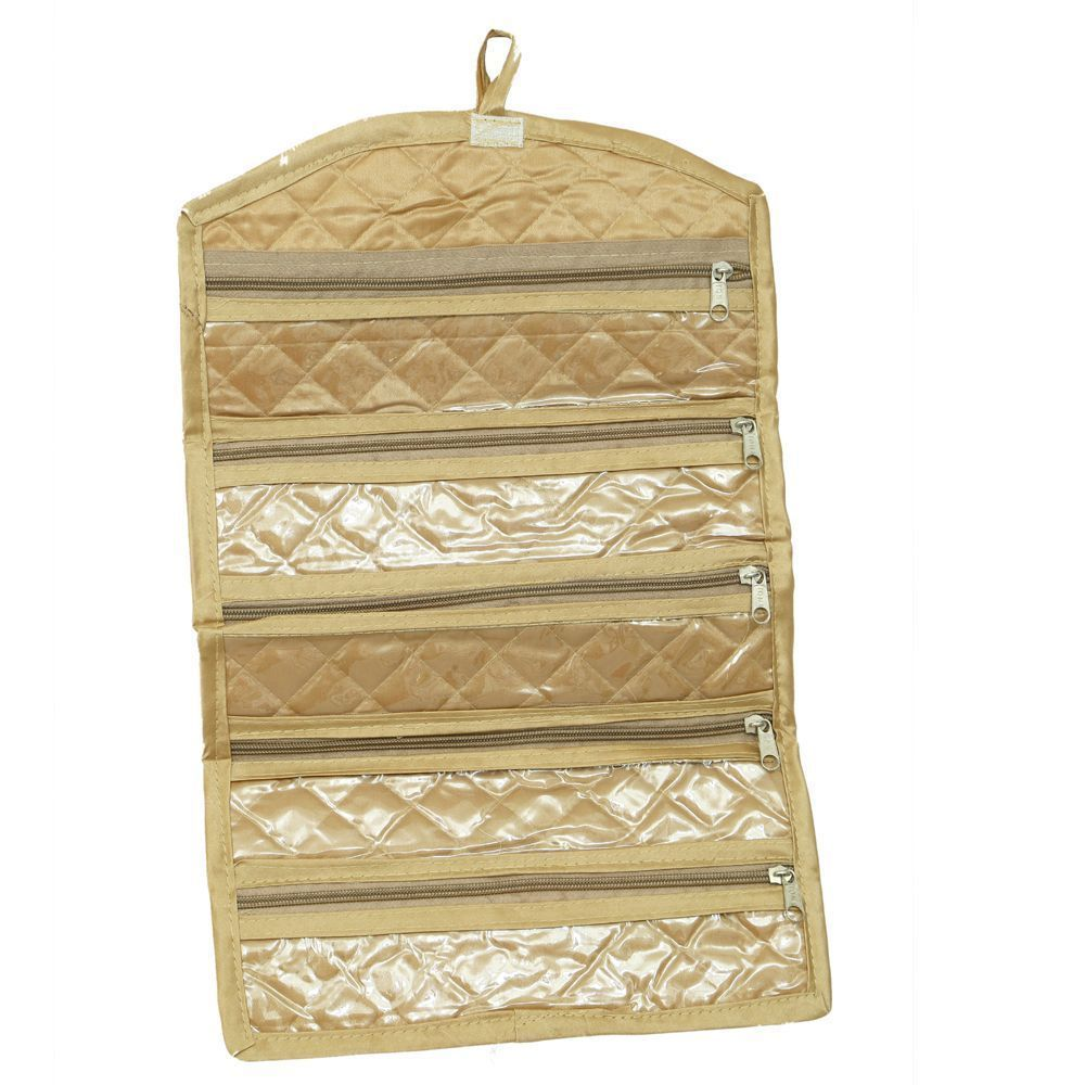 Kuber Industries Foldable Payal kit, Travelling Organiser in Quilted Satin Material  -KI3255