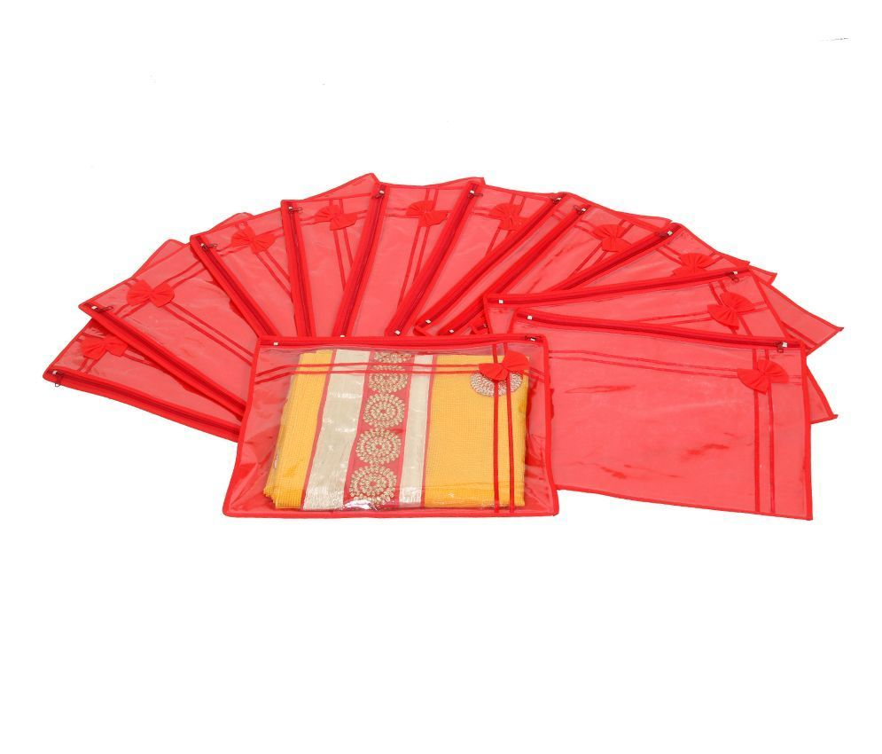 Kuber Industries Non Wooven Single Saree Cover Set Of 12 Pcs (With Zip Lock)
