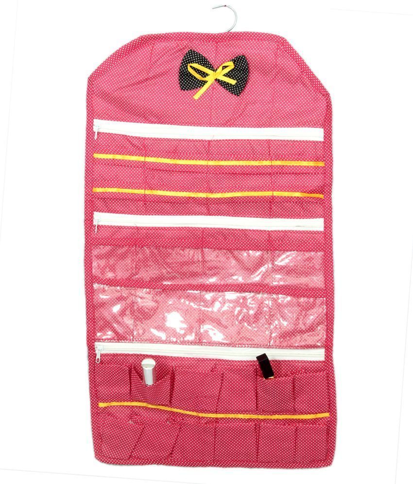 Kuber Industries Multipurpose Wall Hanging , Make up Kit, Cosmetic Kit In CottonMaterial (Hanger Attached)
