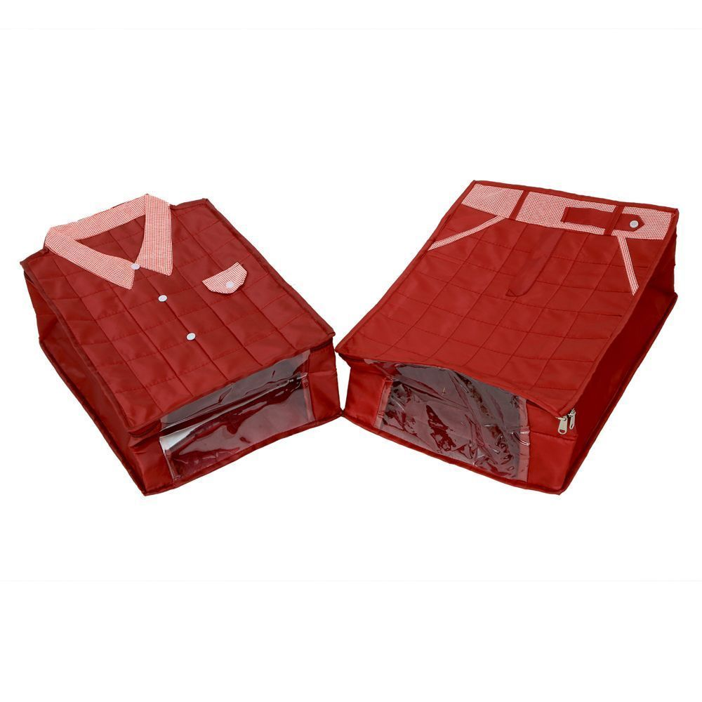 """Kuber Industries Large Size Shirt Cover & Trouser Cover Set of 2 Pcs(Soft Cotton Parachute Material) Maroon Color With Textured Dotted Border -KI3177 """
