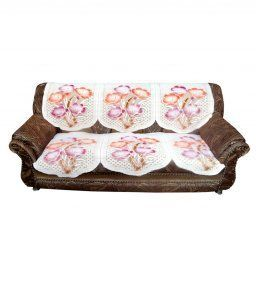Kuber Industries Cream Embossed 5 Seater Net Sofa Cover Set -10 Pieces (Exclusive Design)