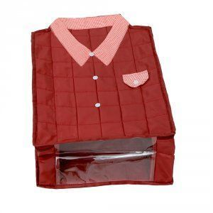 """Kuber Industries Large Size Shirt Cover (Soft Cotton Parachute Material) Maroon Color With Textured Dotted Border -KI3174 """