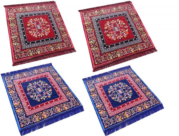 Kuber Industries Red Pooja Aasan, Mat Set of 4 Pcs  (2 Ft X 2 Ft)