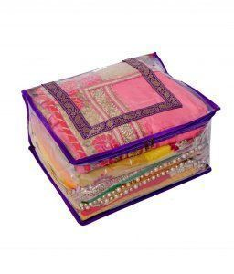Kuber Industries Quilted Transparent Saree Cover (Extra Large Size)